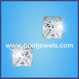 Square Clear Rhinestone Earrings