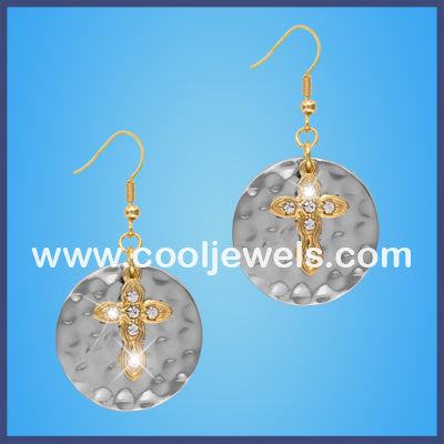 Round Casting Cross Earrings