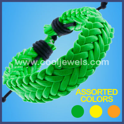 Neon Braided Slider Bracelets