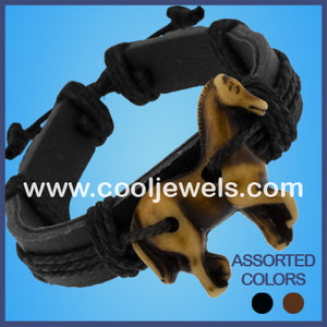 Resin Horse Leather Bracelets