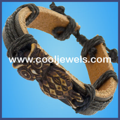 Resin Owl Leather Bracelets