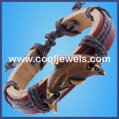 Resin Dolphin Leather Bracelet