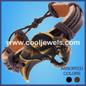 Resin Elephant Leather Bracelets