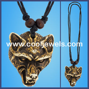 Wolf Head Resin Tooth Necklaces