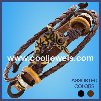 Resin Dolphin Leather Bracelets