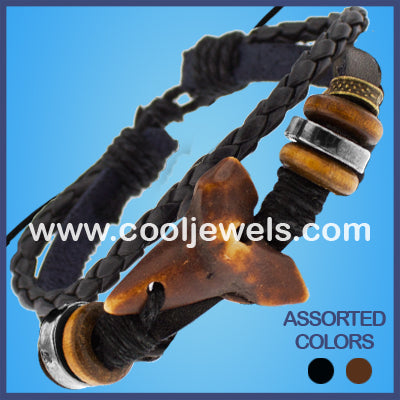 Resin Tooth Leather Bracelets