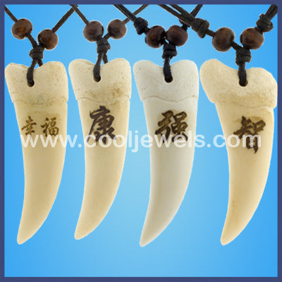 Assorted Pack of Slider Tooth Chinese Symbol Necklaces