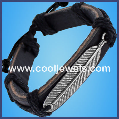 Leather Slider Feather Bracelets