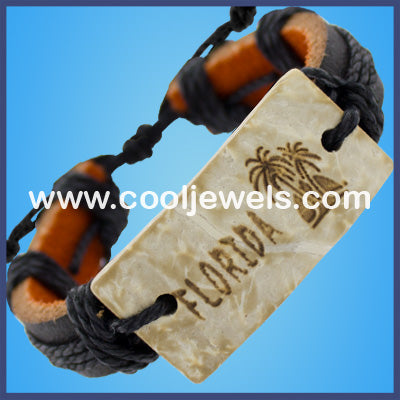 Florida Leather Palm Tree Bracelet