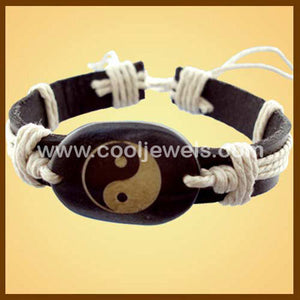 Ying Yang Leather Bracelets