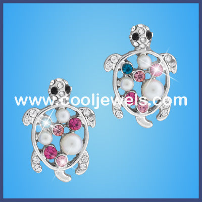 Rhinestone Turtle Earrings