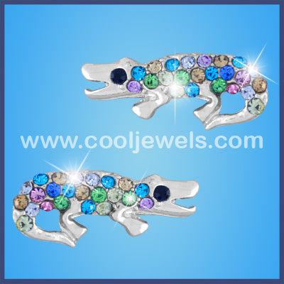 Rhinestone Alligator Earrings
