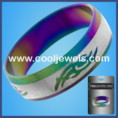 Rainbow Tribal Design Stainless Steel Rings
