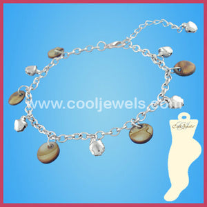 Silver Beaded Mop Disc Anklets