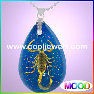 Resin Amber Mood Teardrop Scorpion Necklaces