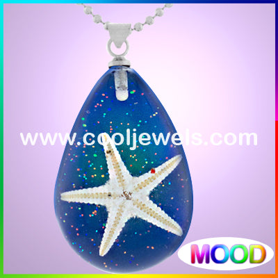 Resin Amber Mood Teardrop Starfish Necklaces