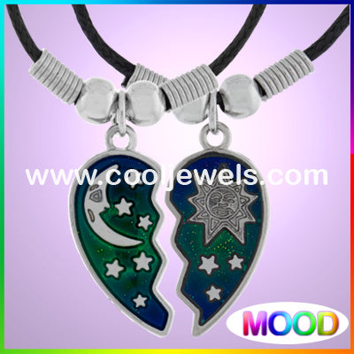 Mood Moon and Sun Heart Necklaces