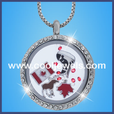 Round Rhinestone Canadian Themed Necklaces