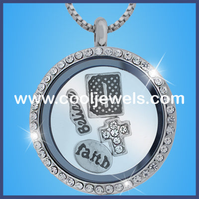 Round Rhinestone Cross Necklaces