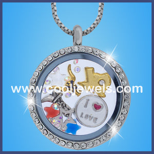 Round Rhinestone Texas Themed Necklaces