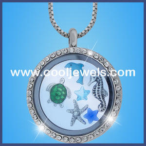 Round Rhinestone Sea Life Necklaces