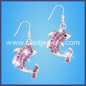 Rhinestone Dolphin Earrings