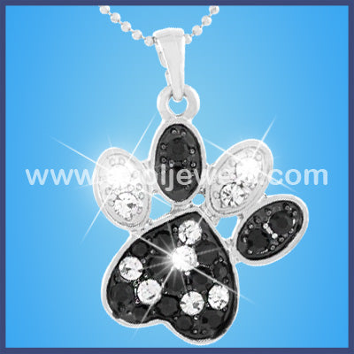 Black and Clear Color Rhinestone Bear Paw Necklaces
