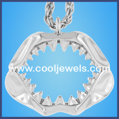 Silver Shark Jaw Necklaces