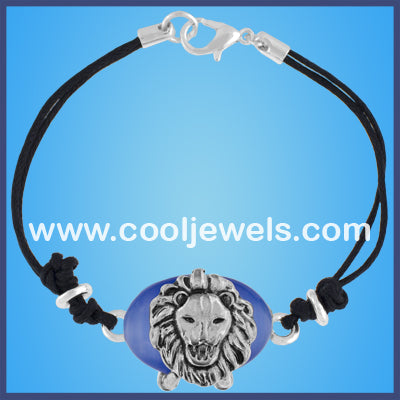 Cat's Eye Silver Lion Head Bracelets