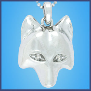 Silver Wolf Face Necklace