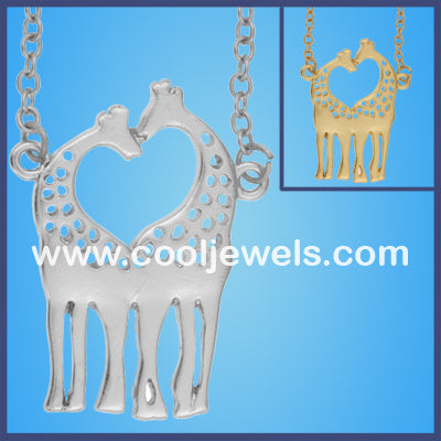 Dual Giraffes Heart Necklaces