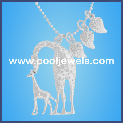 Silver Giraffe Mother and Baby Necklace