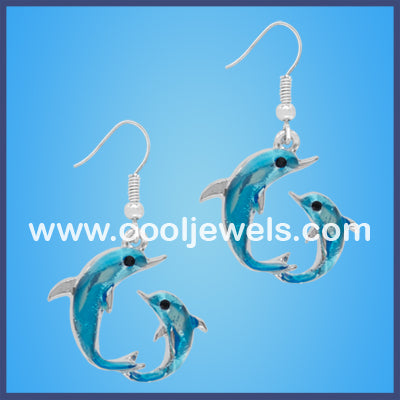 Double Dolphin Turquoise Earrings