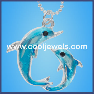 Double Dolphin Turquoise Necklace