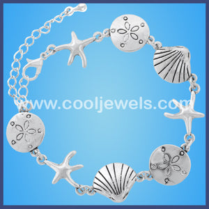 Silver Dollar, Starfish, and Seashell Bracelets