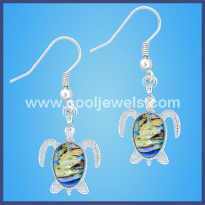 Iridescent Swirl Turtle Earrings