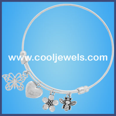Flower Heart Butterfly Silver Wire Bracelets