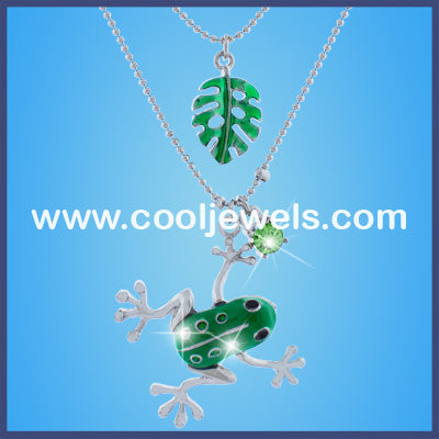 Double Rhinestone Frog and Leaf Necklaces