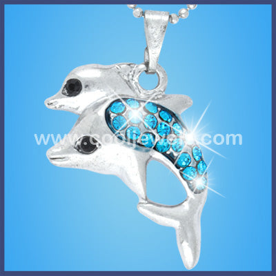 Double Rhinestone Dolphin Necklaces