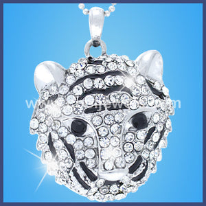 Rhinestone Tiger Head Necklace