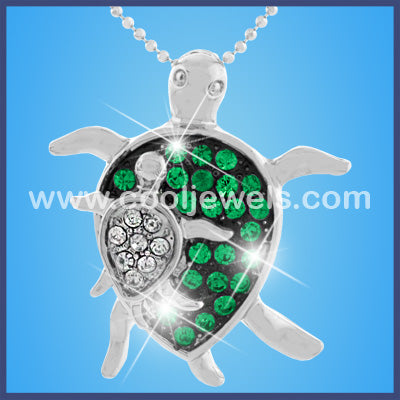 Rhinestone Turtle and Baby Necklace