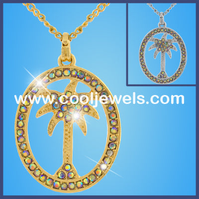 Rhinestone Palm Tree Necklaces