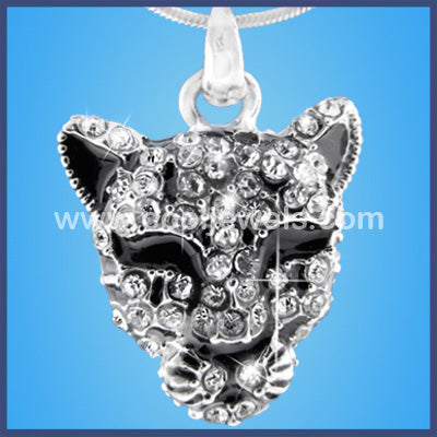 Rhinestone Cheetah Face Necklace