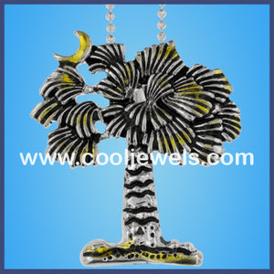 Matte Silver Palm Tree Necklace