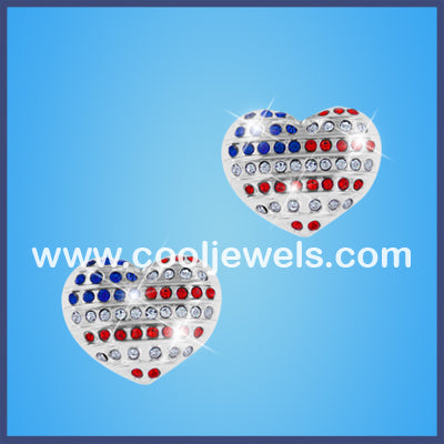 Rhinestone Flag Heart Earrings
