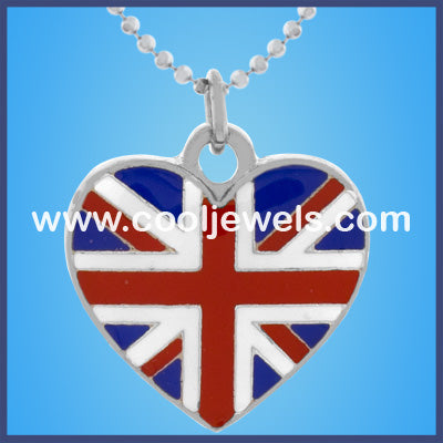 Heart Shaped British Flag Necklaces