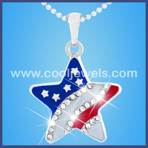 Rhinestone Flag Star Necklace