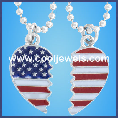 American Flag Hearts Best Friend Necklaces