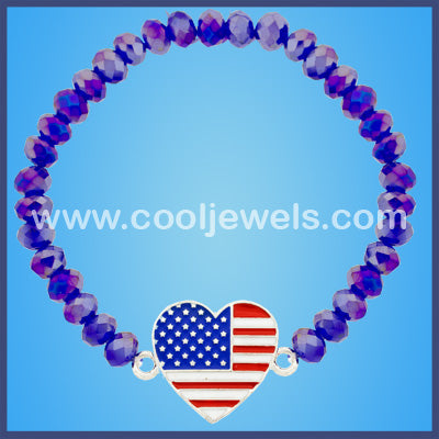 Crystal Beaded Heart American Flag Bracelets