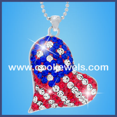 Rhinestone American Flag Heart Necklace